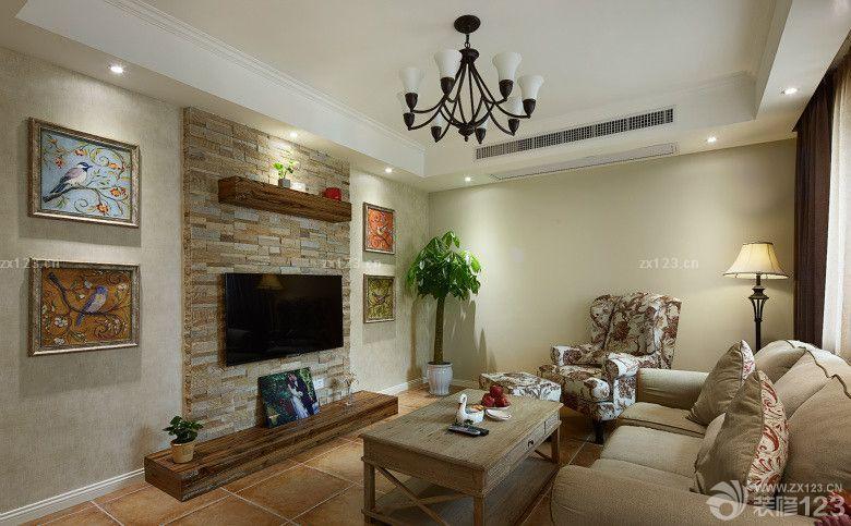 乡村复古美式客厅电视背景墙装修效果图赏析