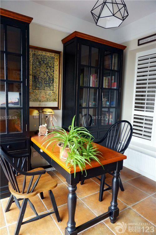 经典阳台书房美式办公室装修实景图大全图片