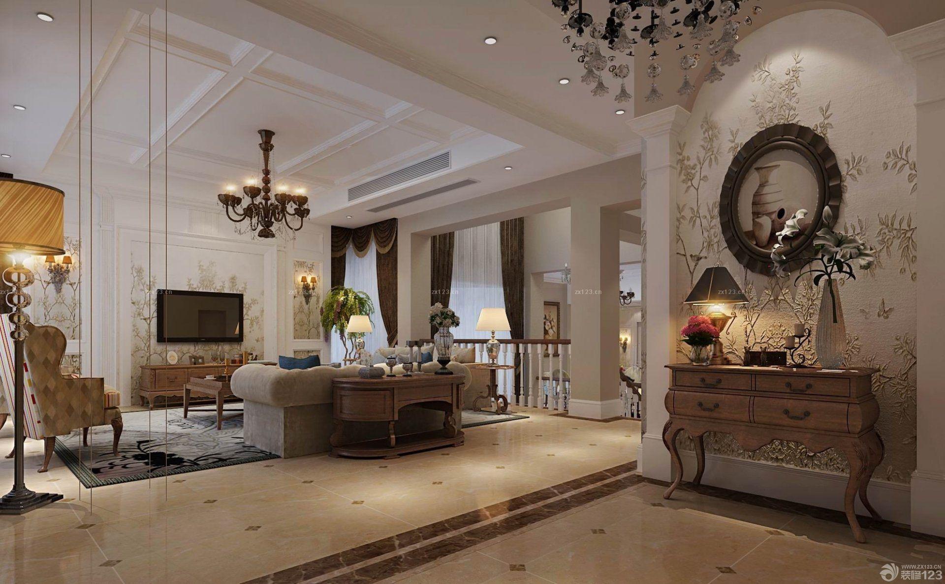 美式现代客厅拼花地砖装修效果图