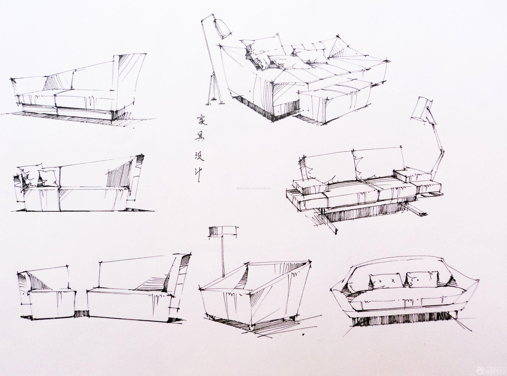 手绘美式家具设计图_装修123效果图