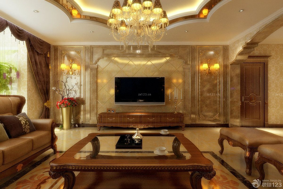 2015家装简欧风格客厅电视背景墙设计效果图片图片