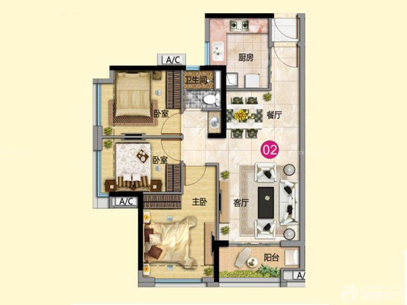 80平米房屋三室两厅经典户型图