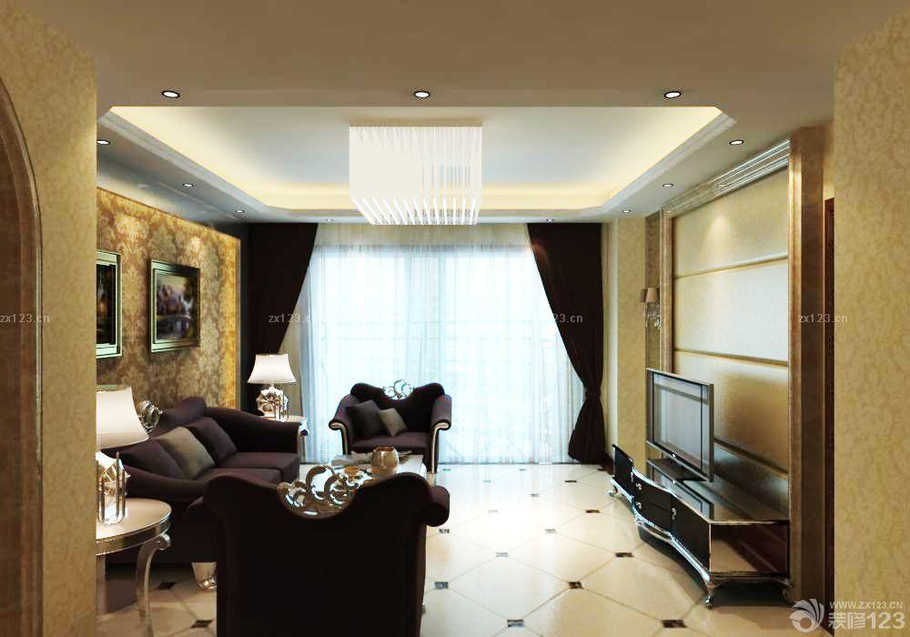 简欧风格大户型客厅装修图欣赏_装修123效果图图片