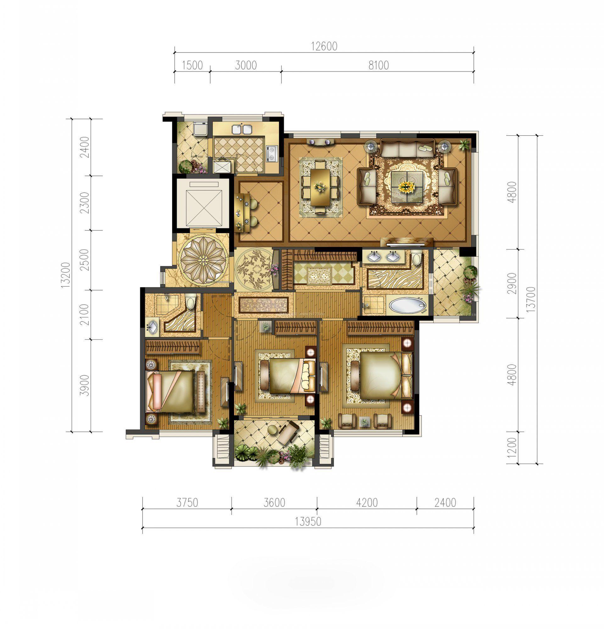 三室两厅经典户型图