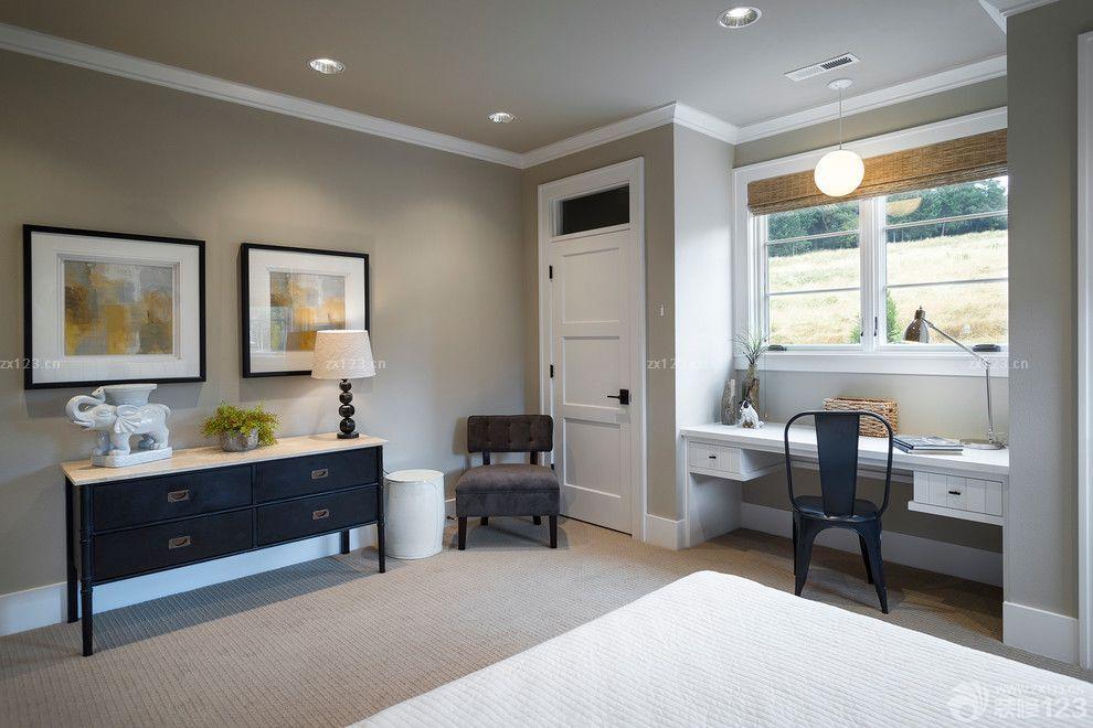 美式乡村风格卧室灰色墙面设计案例
