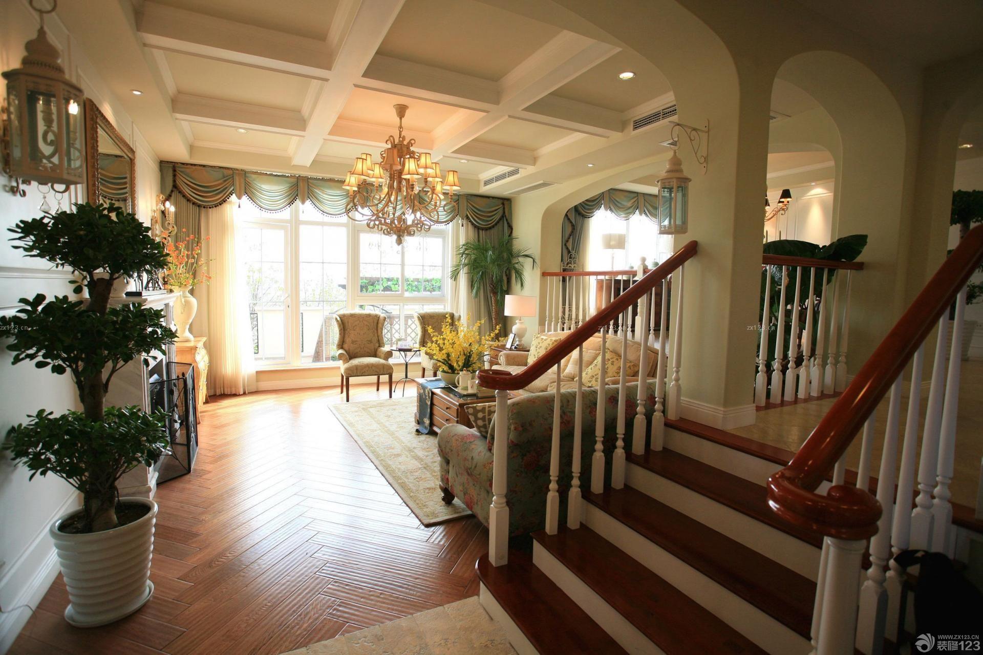 经典家装美式风格楼梯图片赏析_装修123效果图图片