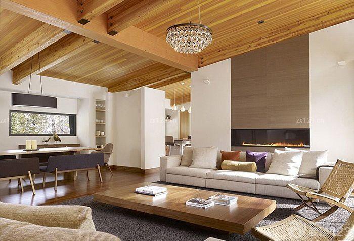 室内家居生态木吊顶效果图大全