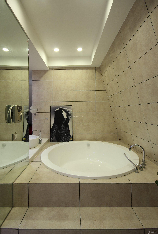家庭浴室圆形浴缸装修图_装修123效果图