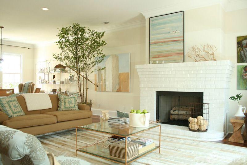 温馨美式田园风格客厅壁炉装修实景图