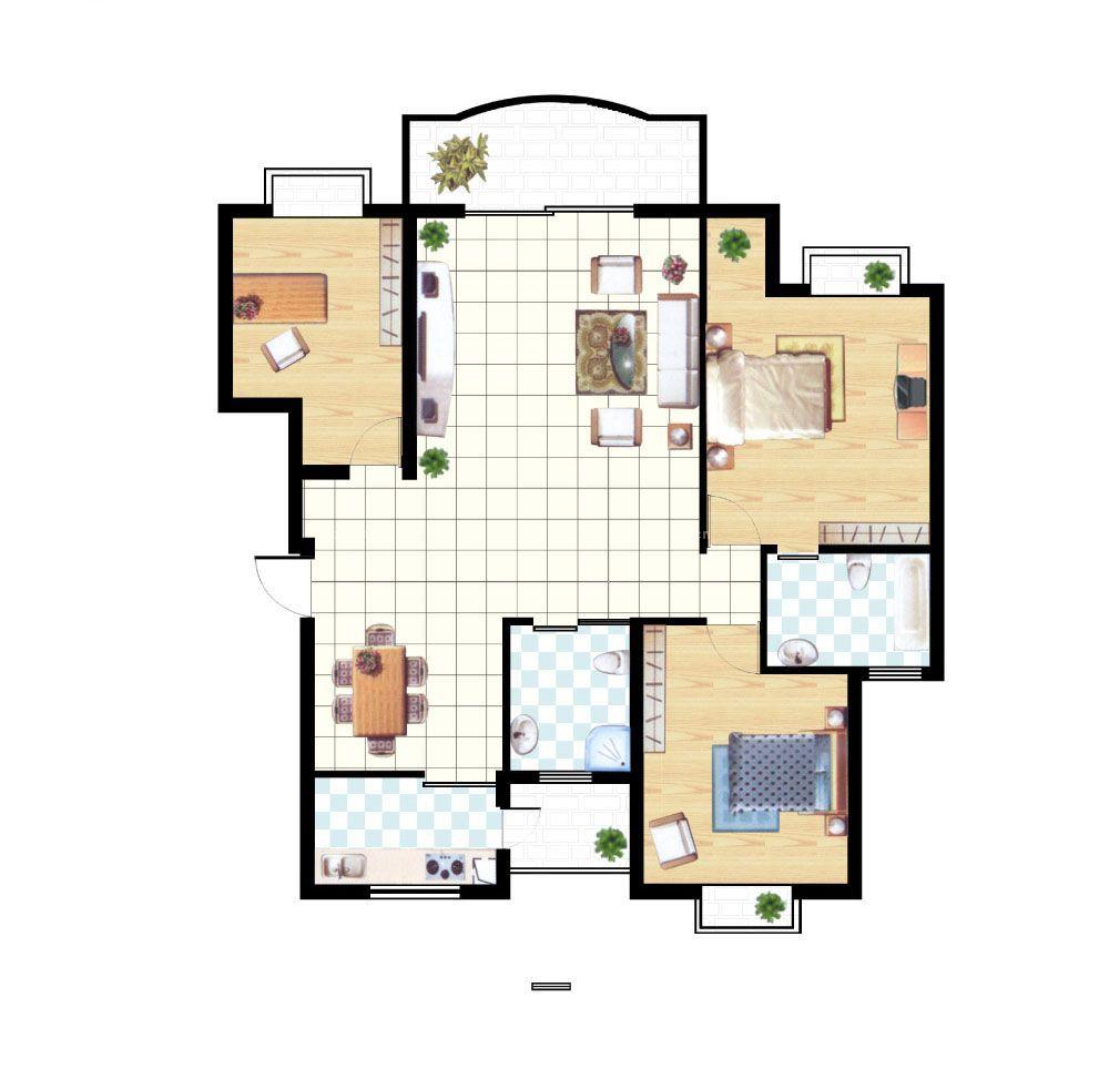 100平方三室一厅户型图