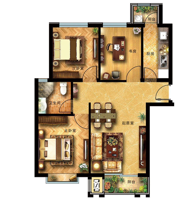 100平米三室一厅户型平面图