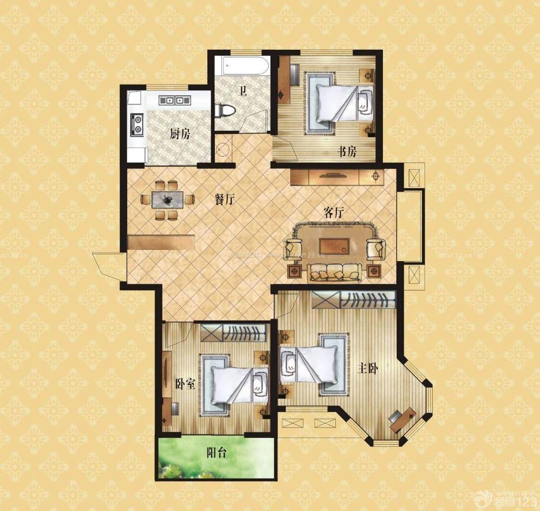 三室一厅一卫户型设计图欣赏