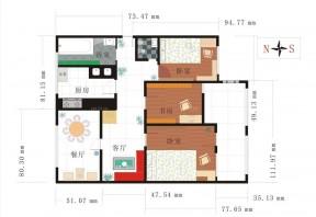 三室一廳戶型圖