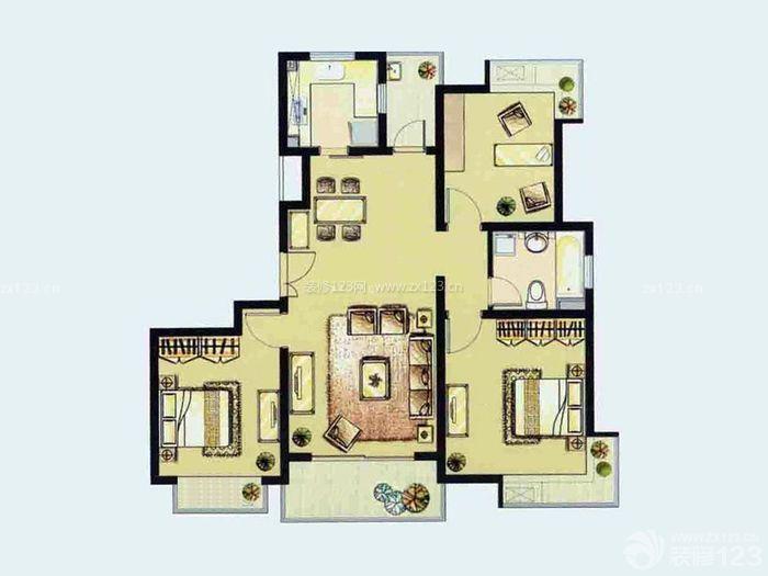 三室一厅两卫设计图纸展示