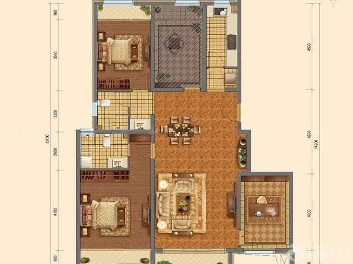 130平方三室一厅户型图