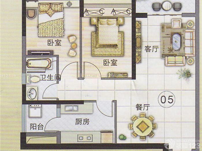 120平方三室一厅一卫设计户型图_装修123效果图