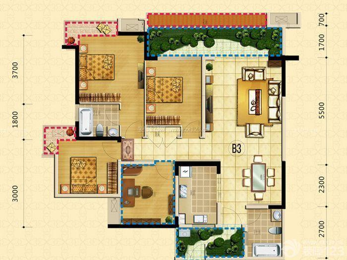 三室一厅户型图设计效果图欣赏
