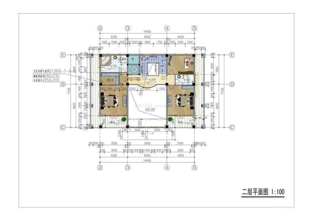 300平米两层别墅平面图