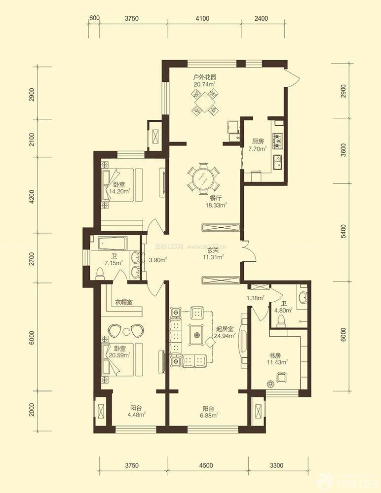 三室两厅两卫户型图 110平米房子