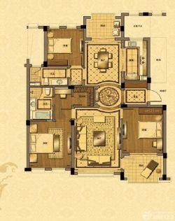 三室兩廳兩衛戶型家庭效果圖