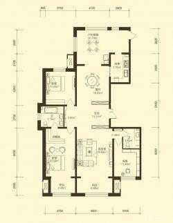110平米房子三室两厅两卫户型图