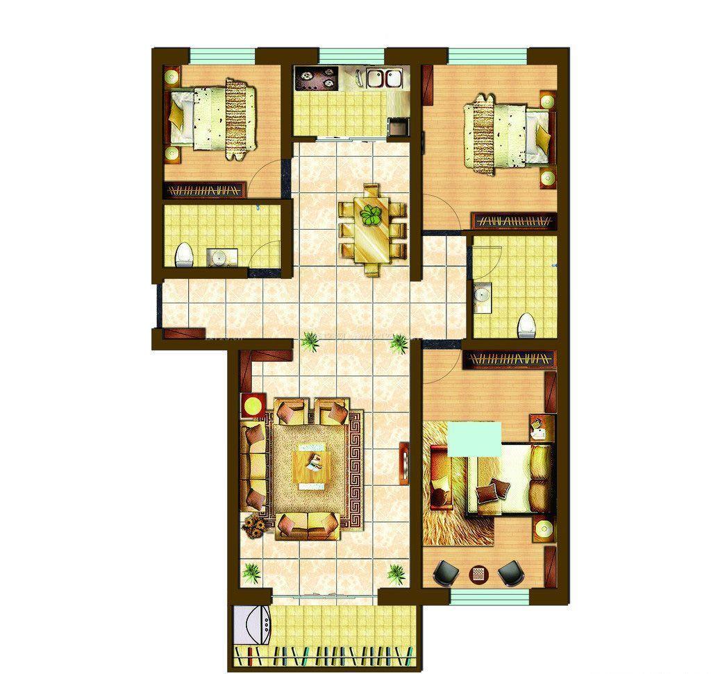 100平米房屋三室两厅两卫户型图
