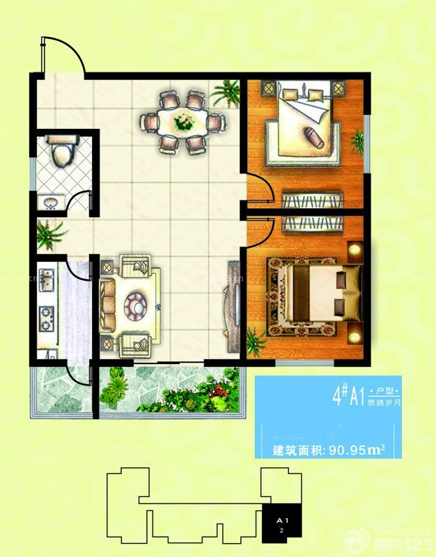 90平兩室一廳戶型圖圖片
