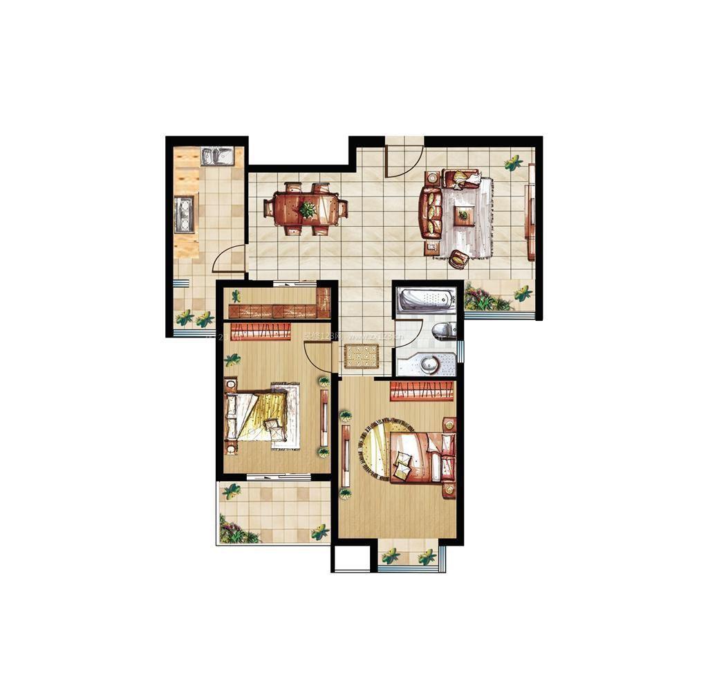 古典两室一厅平面图