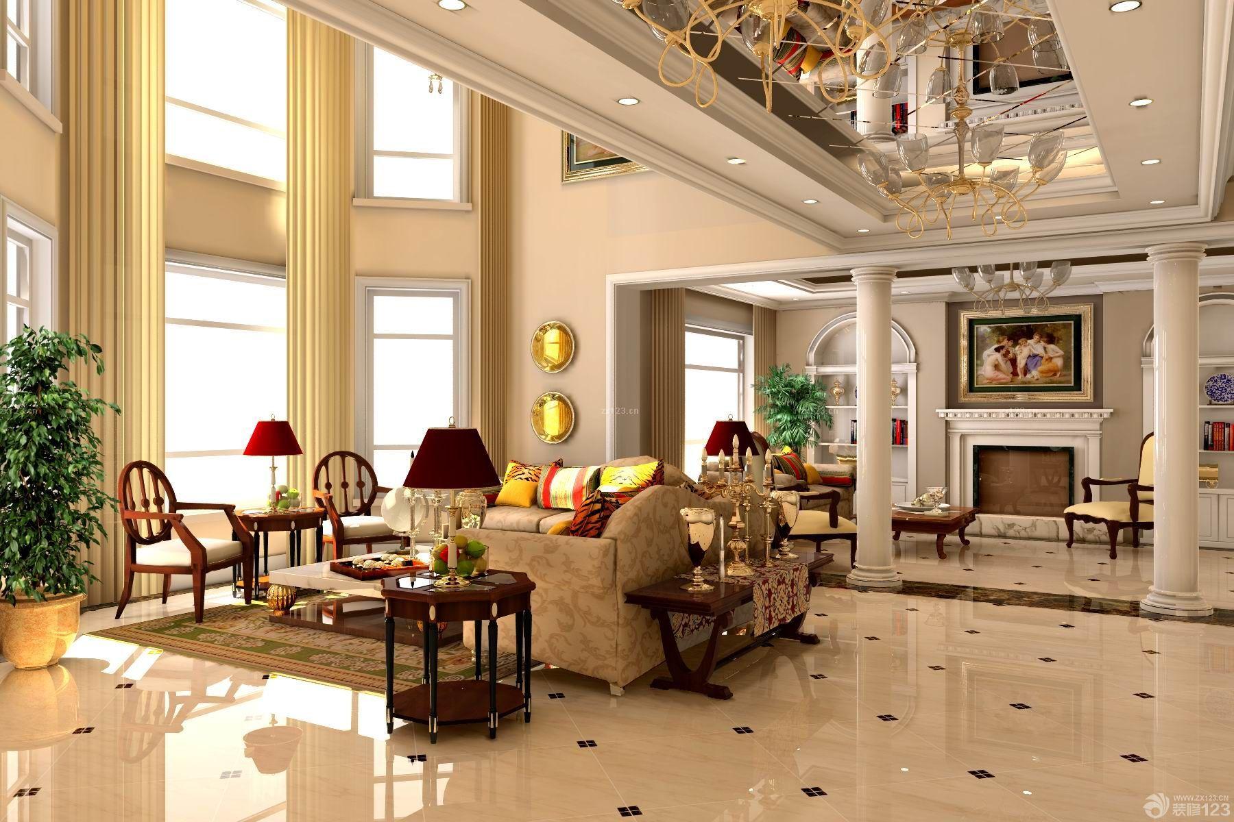 欧式风格客厅瓷砖拼花装修图片