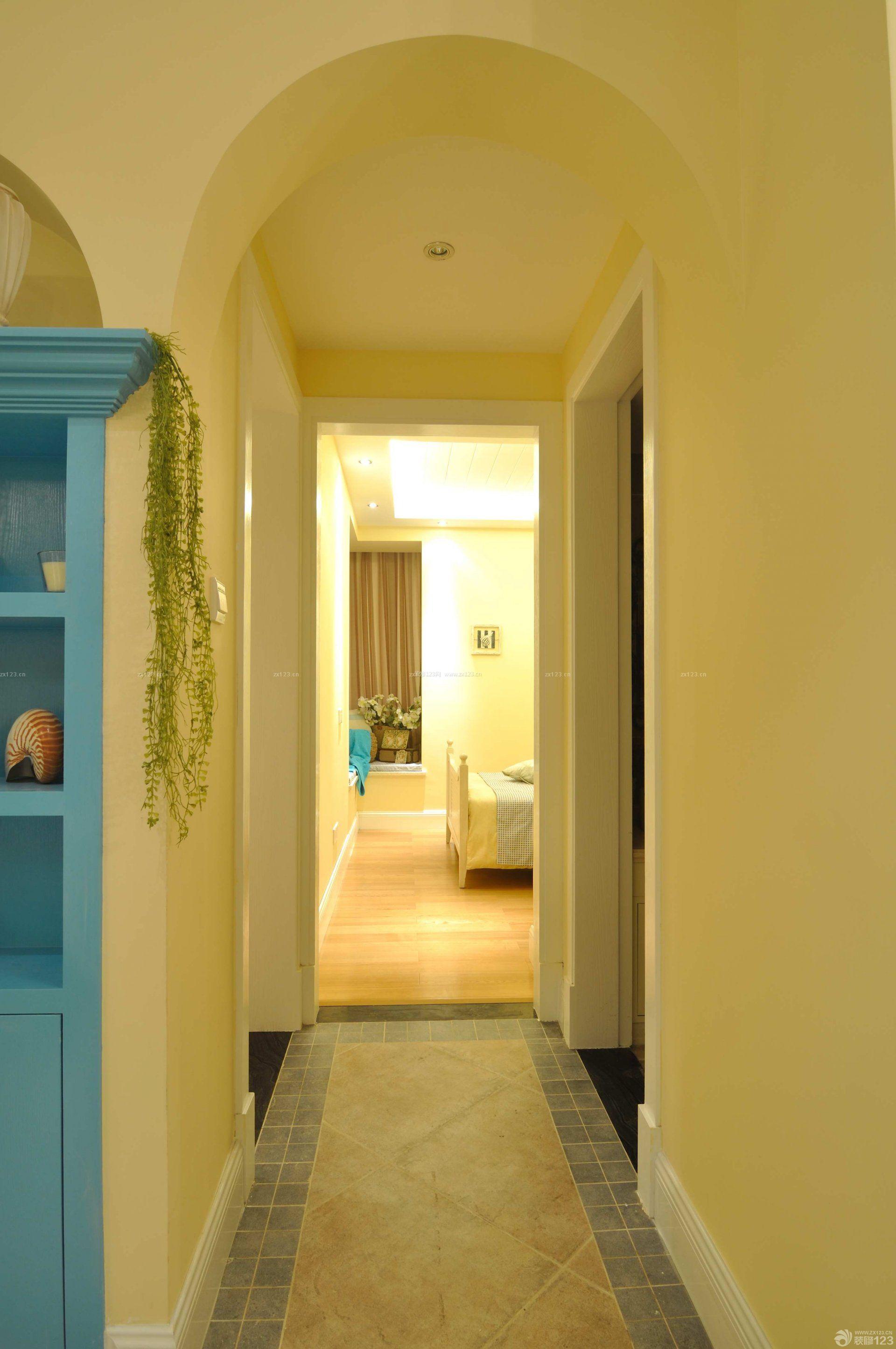 室内走廊玄关瓷砖拼花装修图片