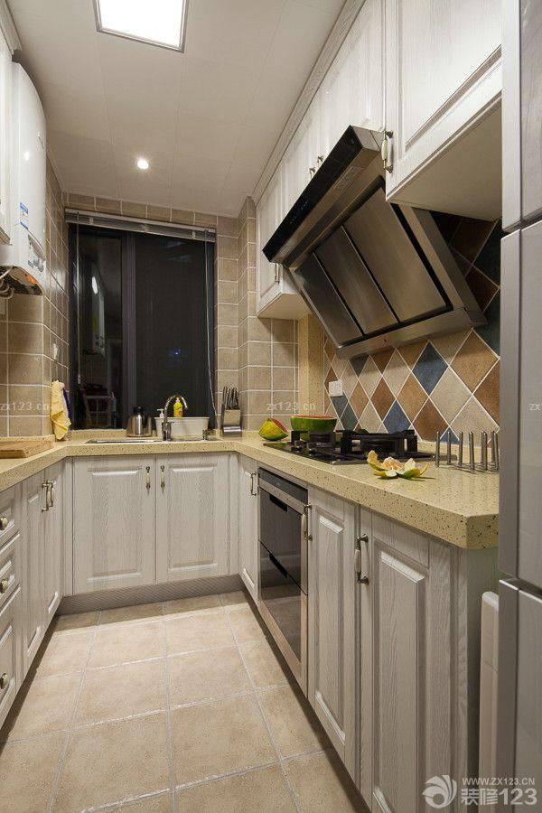 现代美式厨房墙砖贴图效果图片