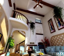 地中海風格別墅中空客廳設計效果圖片