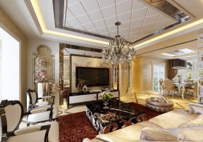 歐式風格吊頂 客廳裝修樣板房