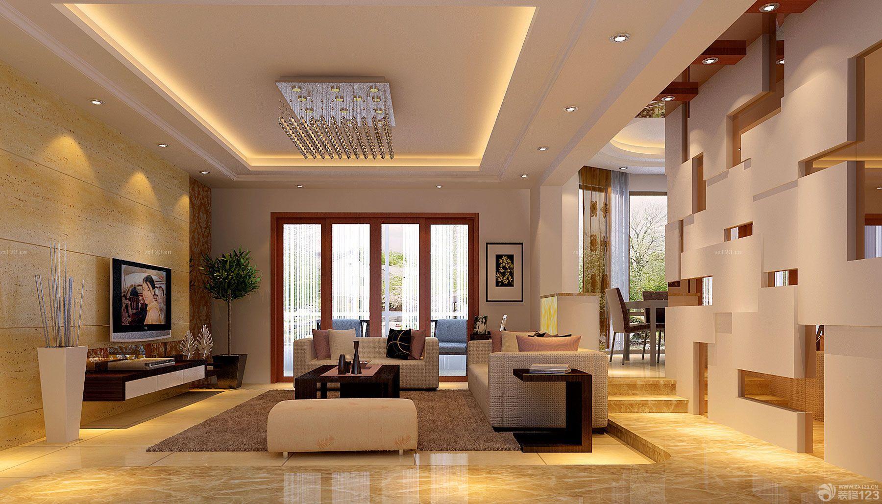 2015家装客厅石膏板吊顶设计图片