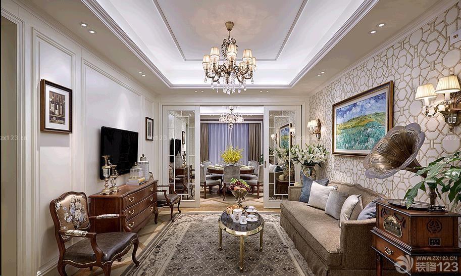 简欧小户型客厅水晶灯设计图_装修123效果图图片