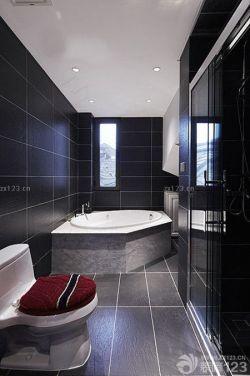 卫生间黑色地砖设计效果图