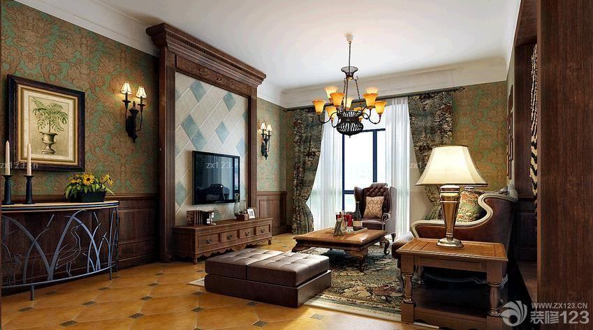 美式乡村风格 艺术瓷砖电视背景墙设计图_装修123效果图片