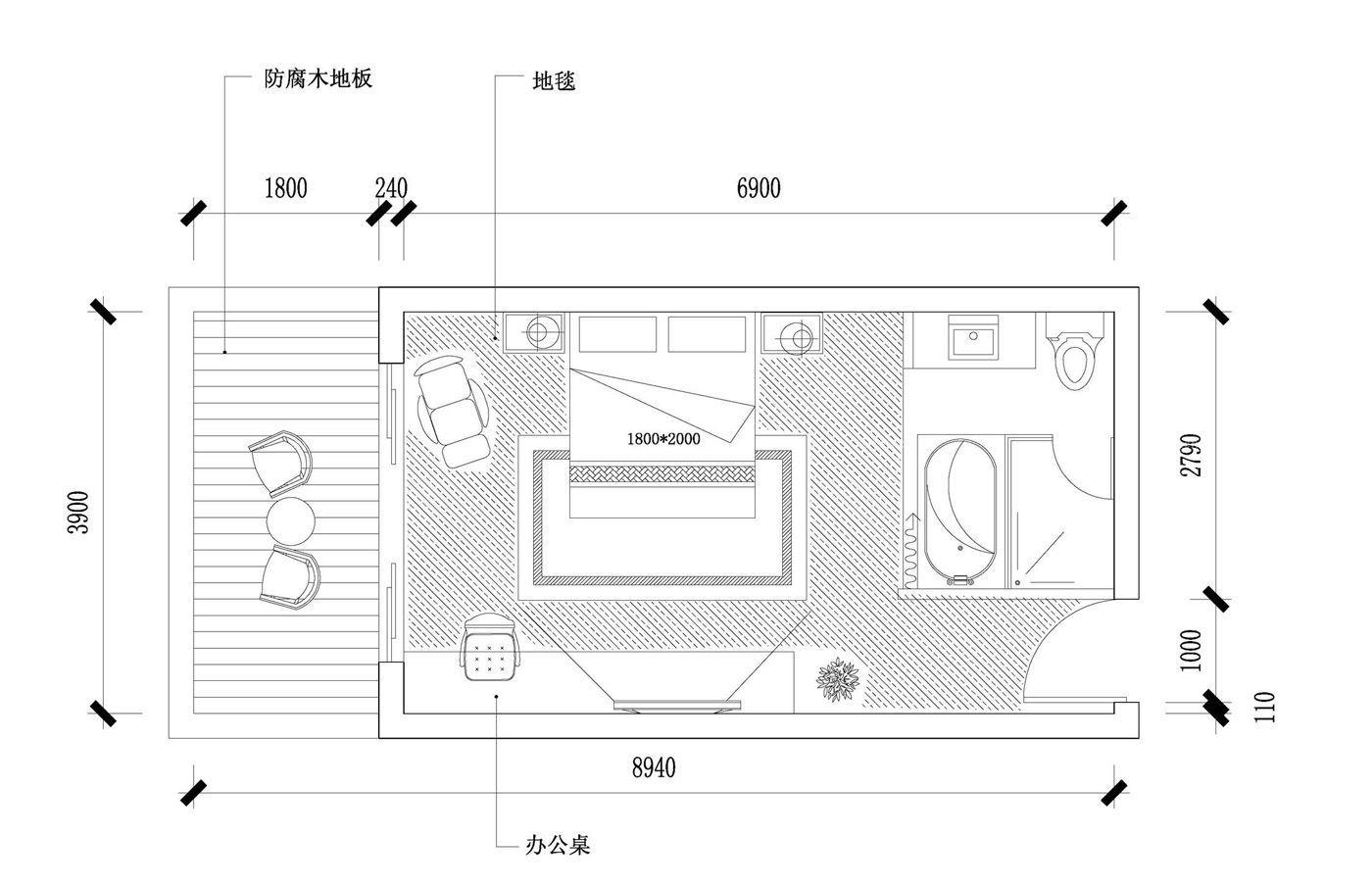 酒店客房房间设计平面图