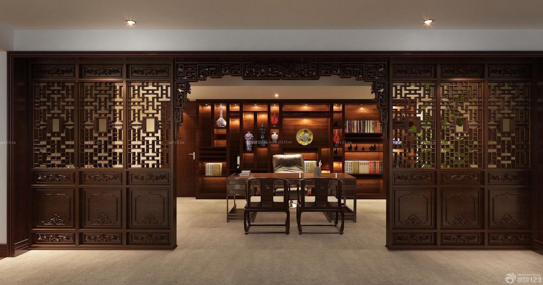 中式办公室棕色门框装修图片