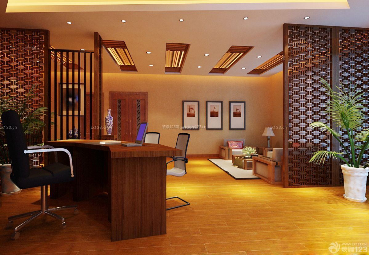 中式办公室镂空隔断装修图片 _装修123效果图