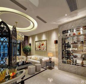 简欧式客厅酒柜图片 1351 欧式餐厅与客厅酒柜隔断装修效果图大全 955