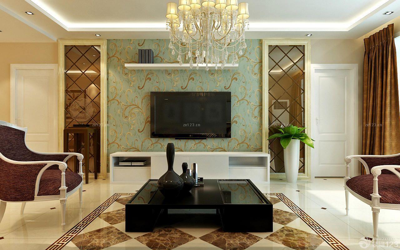 2015经典简欧风格电视墙花藤壁纸设计图