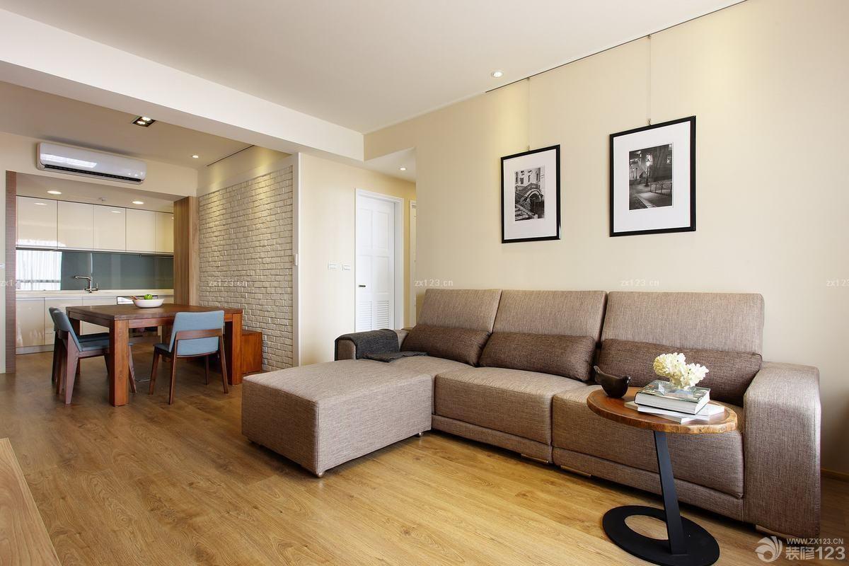 大户型简约风格浅棕色木地板装修图片