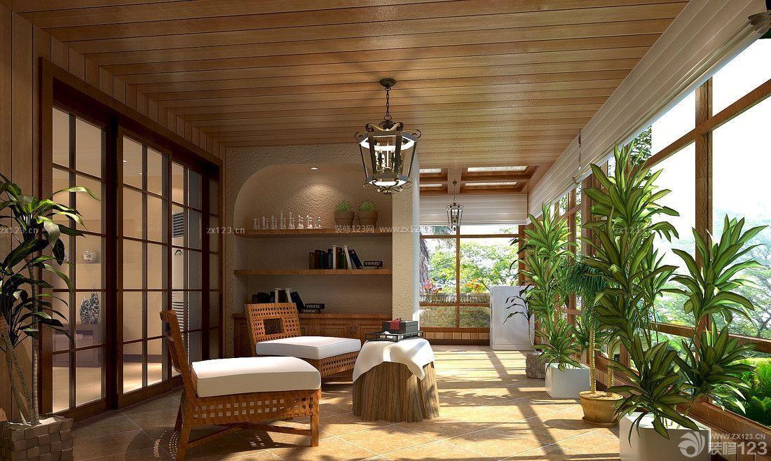 美式风格阳台生态木吊顶装修实景图