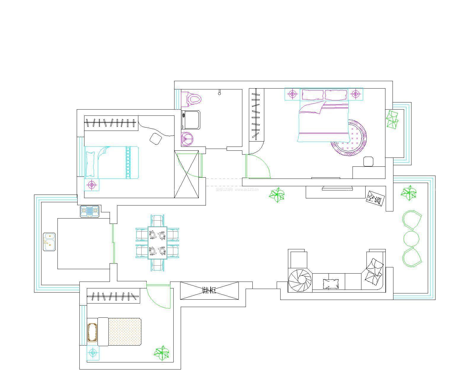 三室两厅最佳手绘户型图