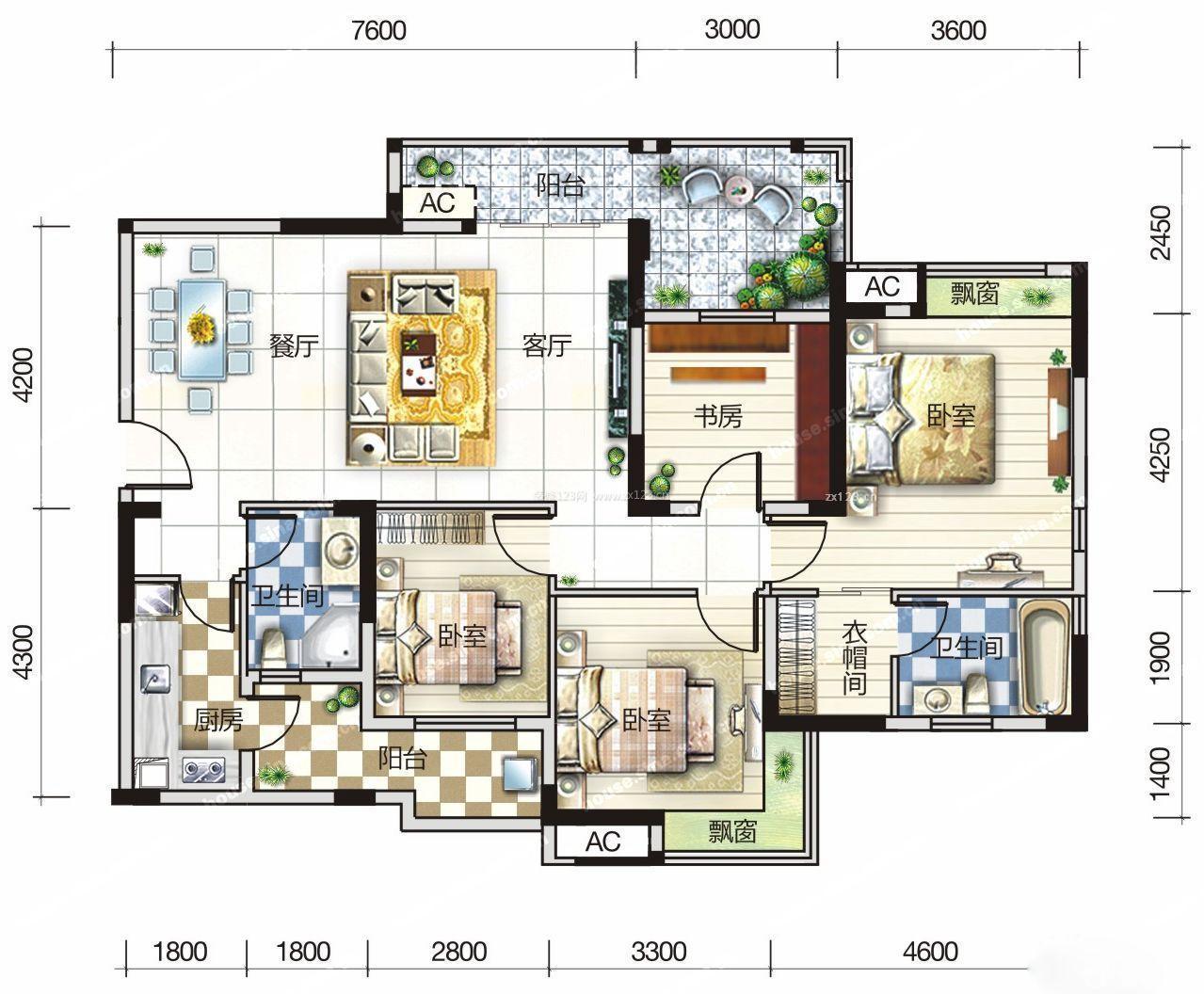 三室兩廳最佳戶型圖