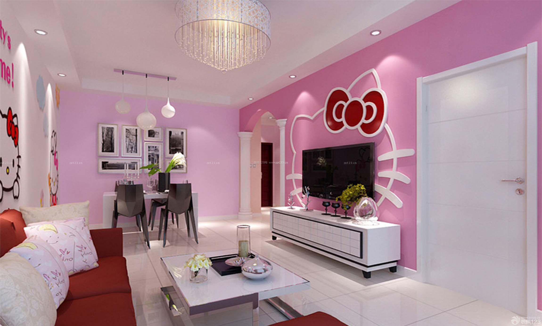 可爱系粉色墙面客厅装修效果图