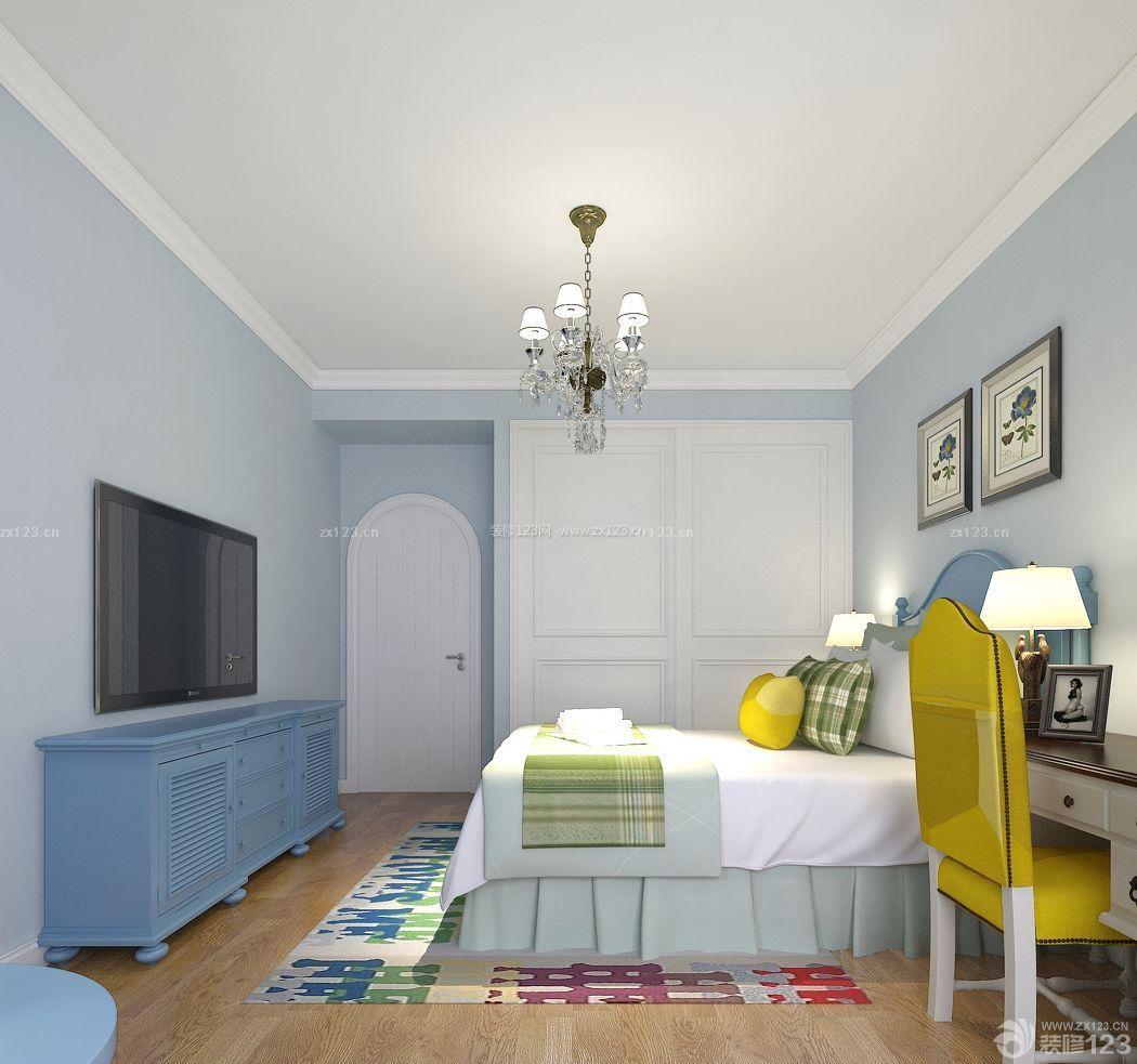 美式地中海混搭风格卧室入墙柜装修实景图