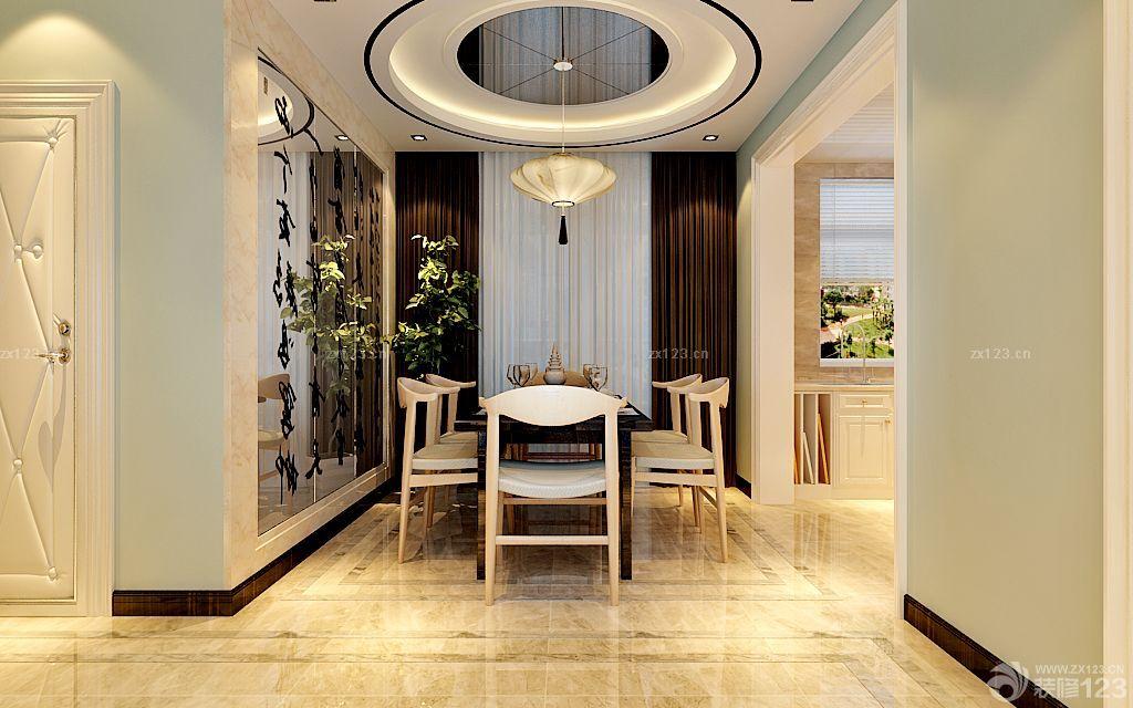 新中式风格餐厅圆形吊顶设计图_装修123效果图图片