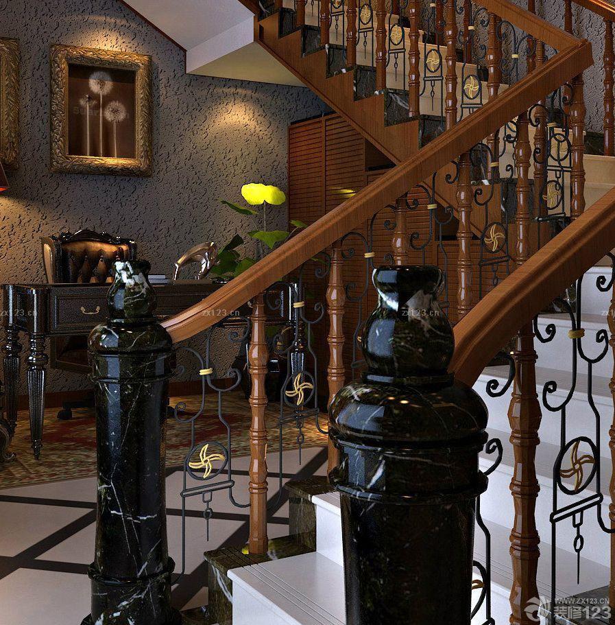 简欧风格复式楼铁艺楼梯扶手装修效果图图片